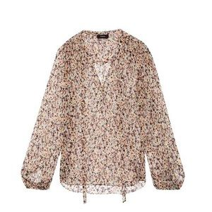 NEW  Theory Bernetta Silk Floral Blouse! Sz Large